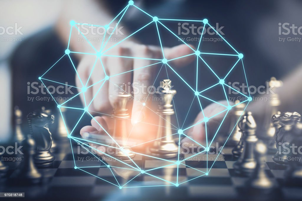 businessman hand point to chess board strategy plan with connecting line organization concept stock photo