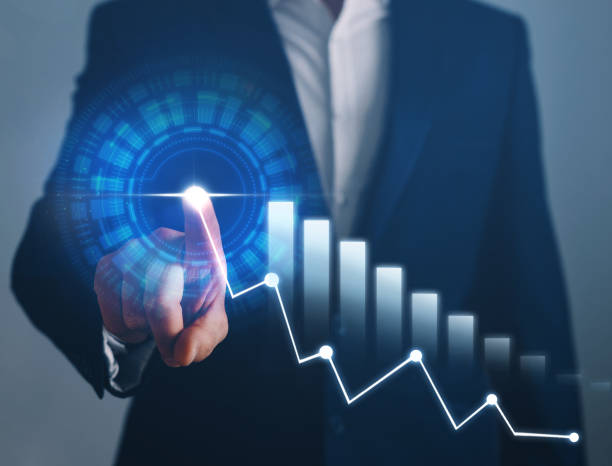 Businessman hand pointing arrow graph corporate future growth plan. Business development to success. stock photo
