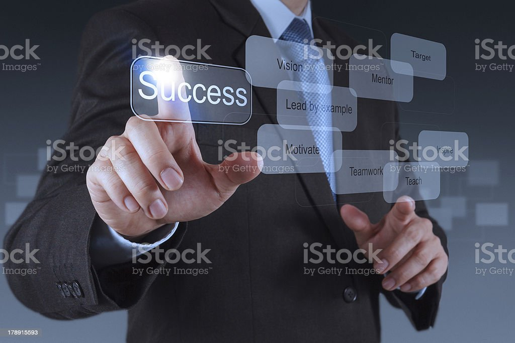 businessman hand pointing to success diagram royalty-free stock photo