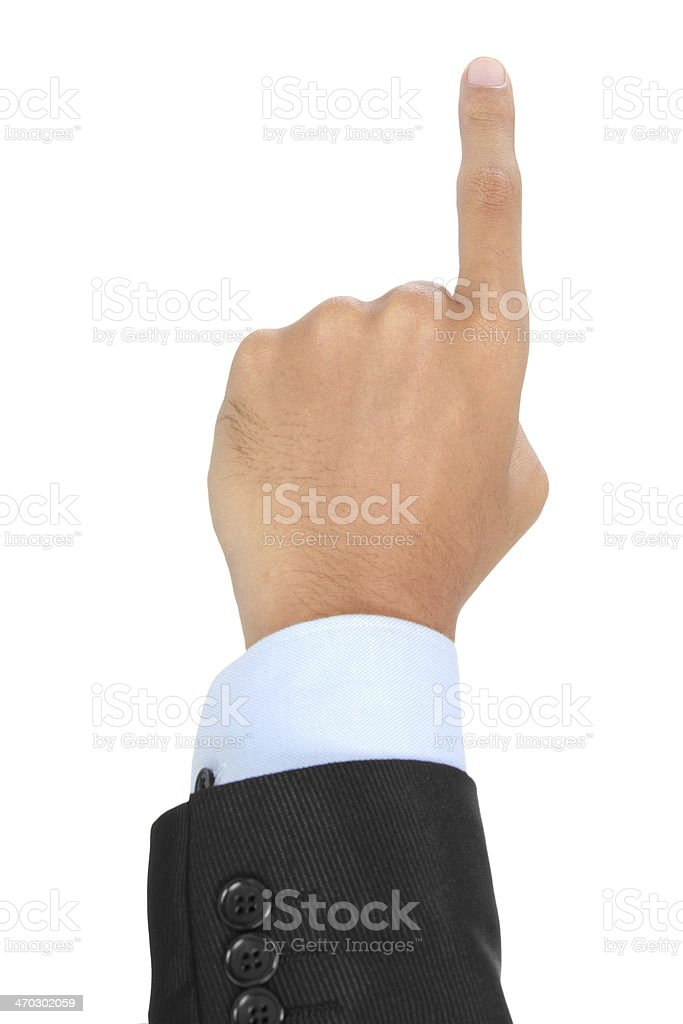 businessman hand pointing up stock photo