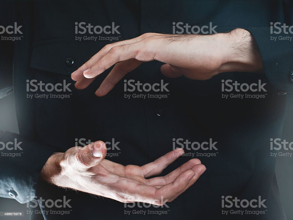 Businessman hand presenting (Click for more) stock photo