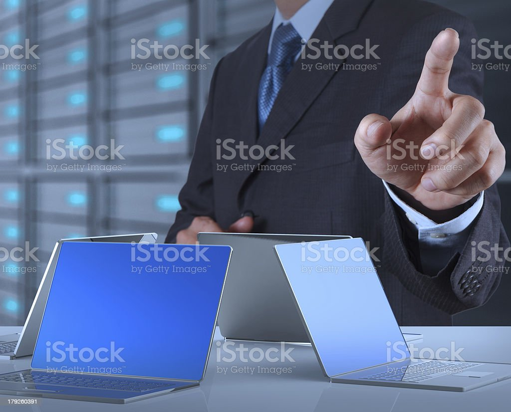 businessman hand pressing a touchscreen button royalty-free stock photo