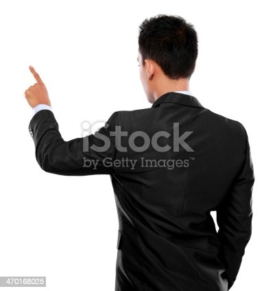 businessman hand pushing virtual screen on white background