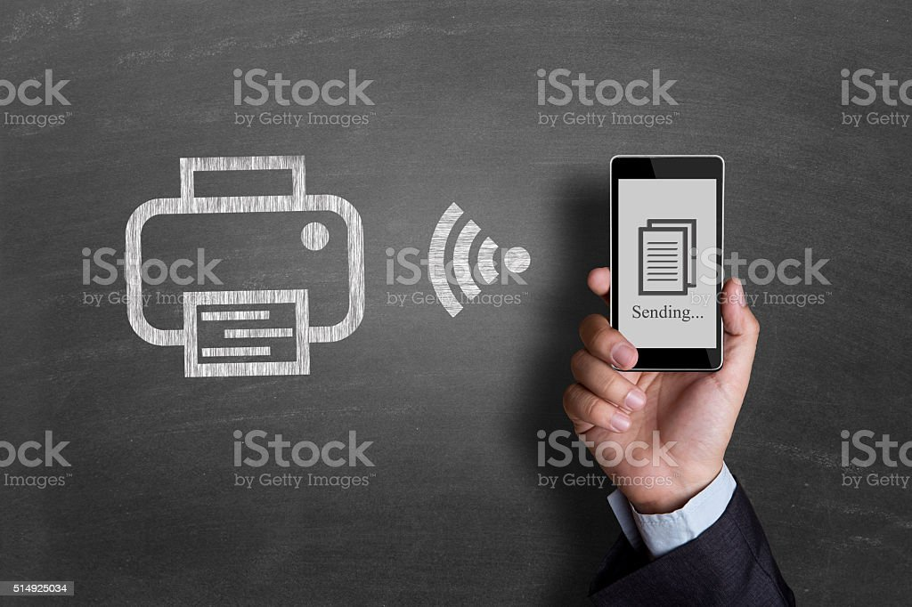 Businessman hand showing smart phone stock photo