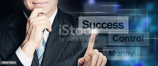 Businessman Hand Touch Success Button on Virtual Screen Interface. Business, Success and Technology Concept
