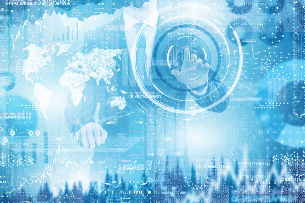 Businessman Hand berührende komplexe Diagramm auf virtuellem Bildschirm – Foto