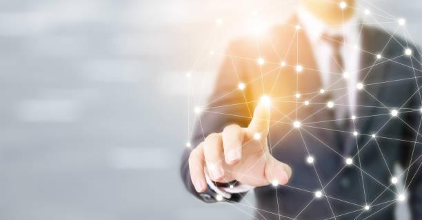 Geschäftsmann Hand berühren globale Netzwerk-Sphäre Nternetverbindung Kommunikation und Technologie-Konzept – Foto