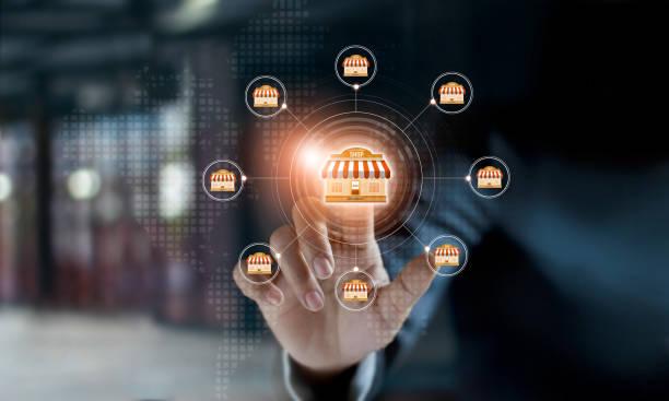 사업가 손 아이콘 글로벌 네트워크 연결 프랜차이즈 마케팅 시스템에 감동. 시장 및 고객의 분기입니다. 현대 기술 사업입니다. - 시장 소매점 뉴스 사진 이미지