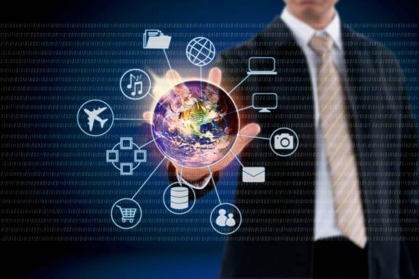 Businessman hand touching on virtual screen. stock photo