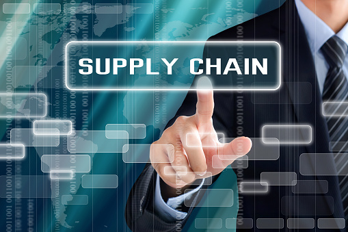 Businessman Hand Touching Supply Chain Sign On Virtual Screen Stock Photo - Download Image Now