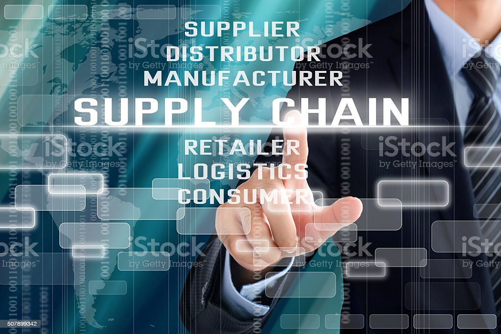 Businessman hand touching SUPPLY CHAIN words on virtual screen Businessman hand touching SUPPLY CHAIN words on virtual screen Achievement Stock Photo