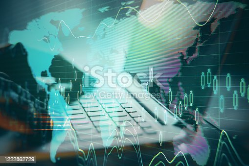 1177116437 istock photo Businessman hand using laptop with abstract global network interface 1222862729