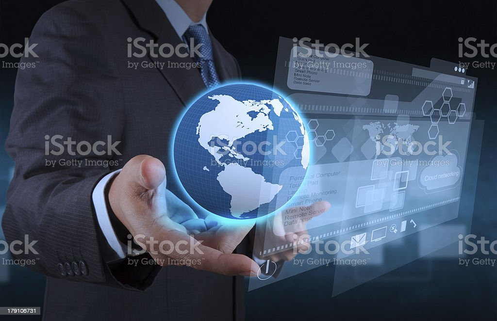 businessman hand using new technology royalty-free stock photo