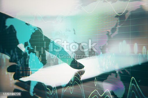 1177116437 istock photo Businessman hand using tablet with abstract global network 1220199209