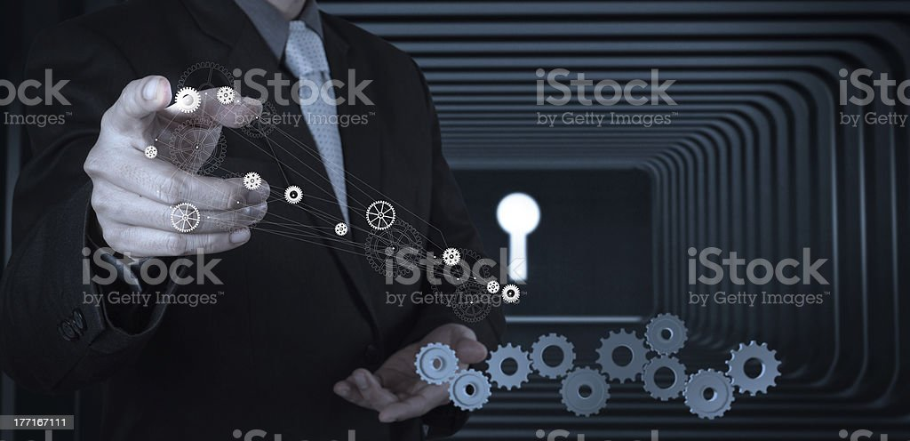 Businessman hand with  key to success royalty-free stock photo