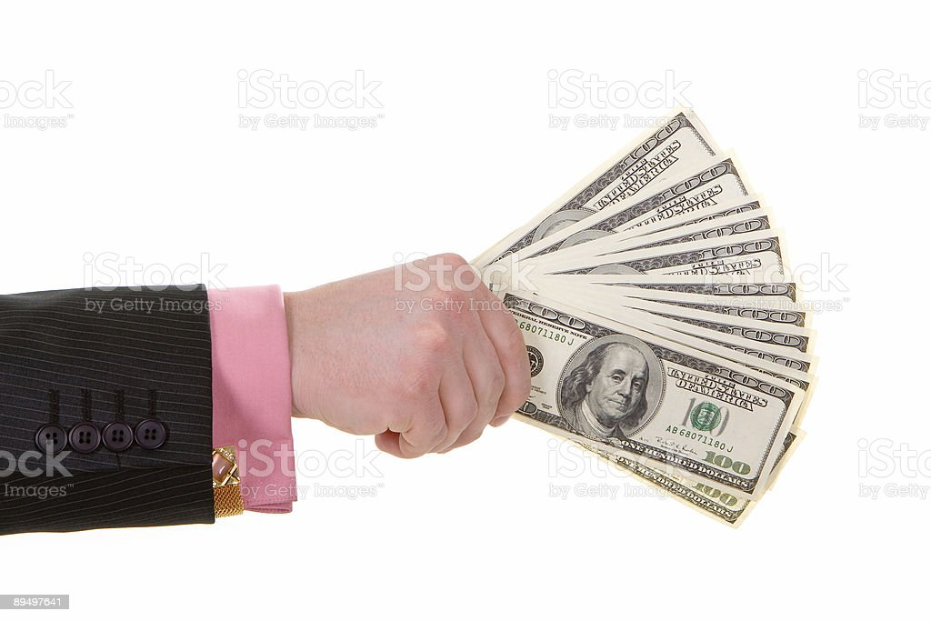 businessman hand with money royalty free stockfoto