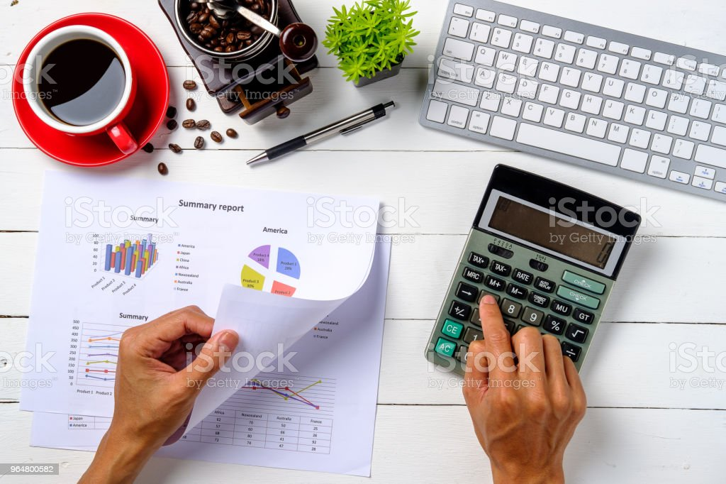 Businessman hand working with financial data royalty-free stock photo
