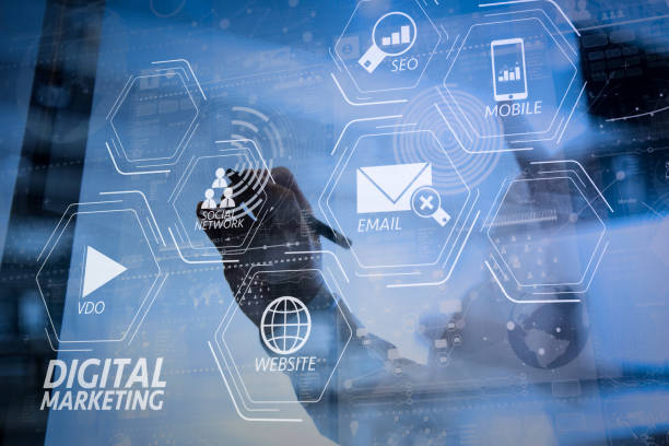 businessman hand working with modern technology and digital layer effect as business strategy concept - digital marketing stock photos and pictures