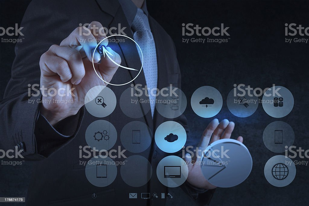 businessman hand working with new modern computer and business s royalty-free stock photo