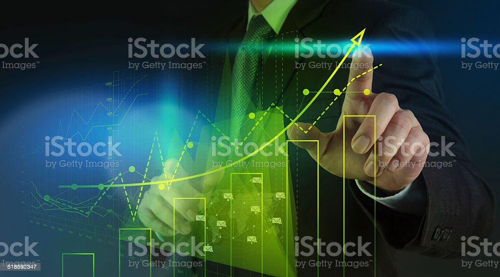 businessman hand working with new modern computer stock photo