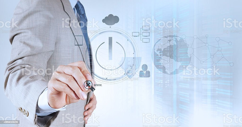 businessman hand working with www. written in search bar stock photo