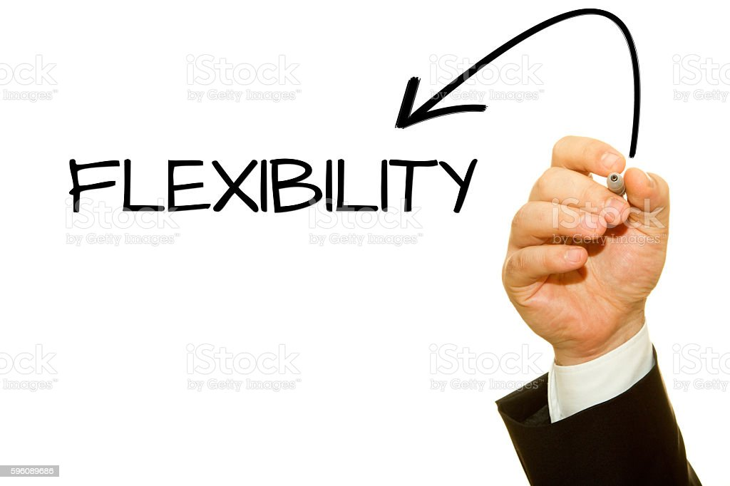 Businessman hand writing Flexibility word with a marker. royalty-free stock photo