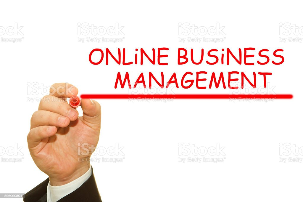 Businessman hand writing Online Business Management royalty-free stock photo