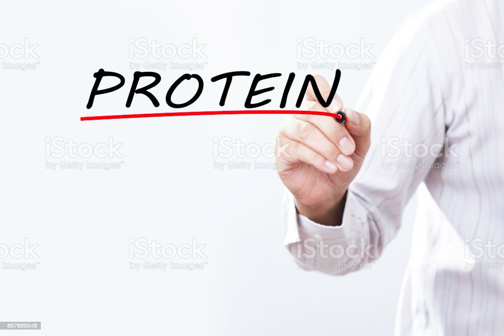 Businessman hand writing PROTEIN with red marker on transparent wipe board stock photo