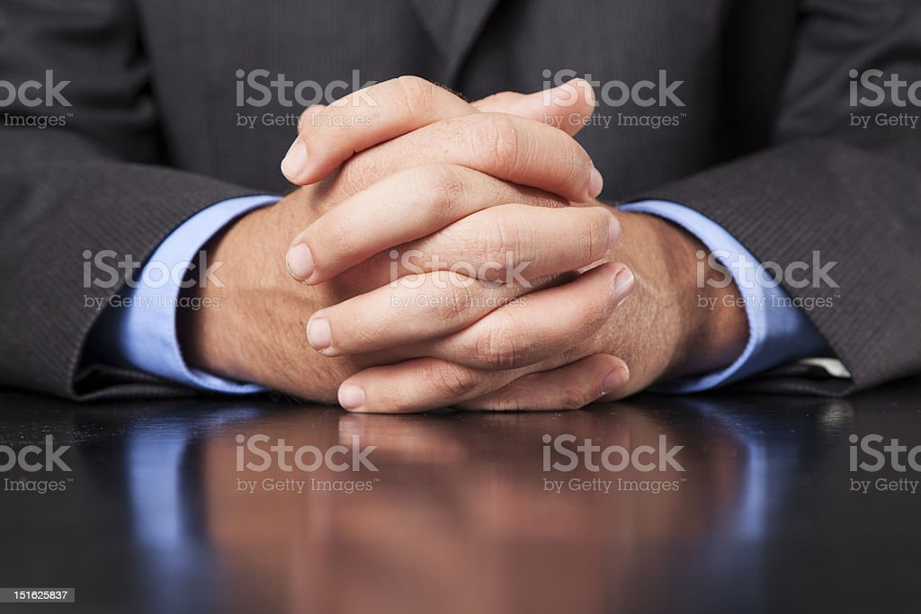 Businessman Hands Clasped royalty-free stock photo