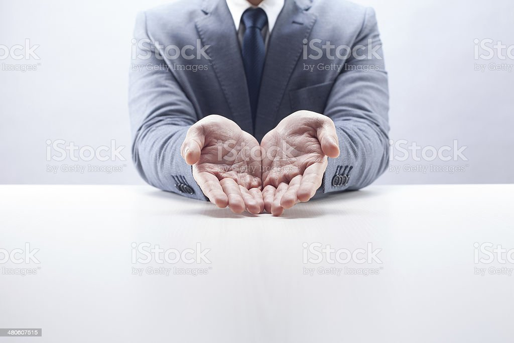 Businessman Hands Cupped stock photo