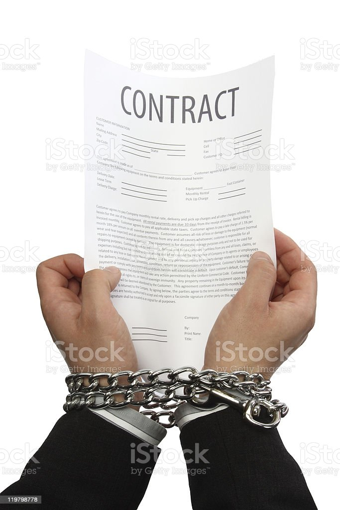 Businessman hands in chains royalty-free stock photo