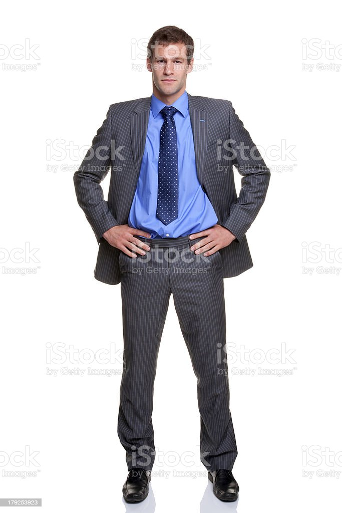Businessman hands on hips isolated royalty-free stock photo