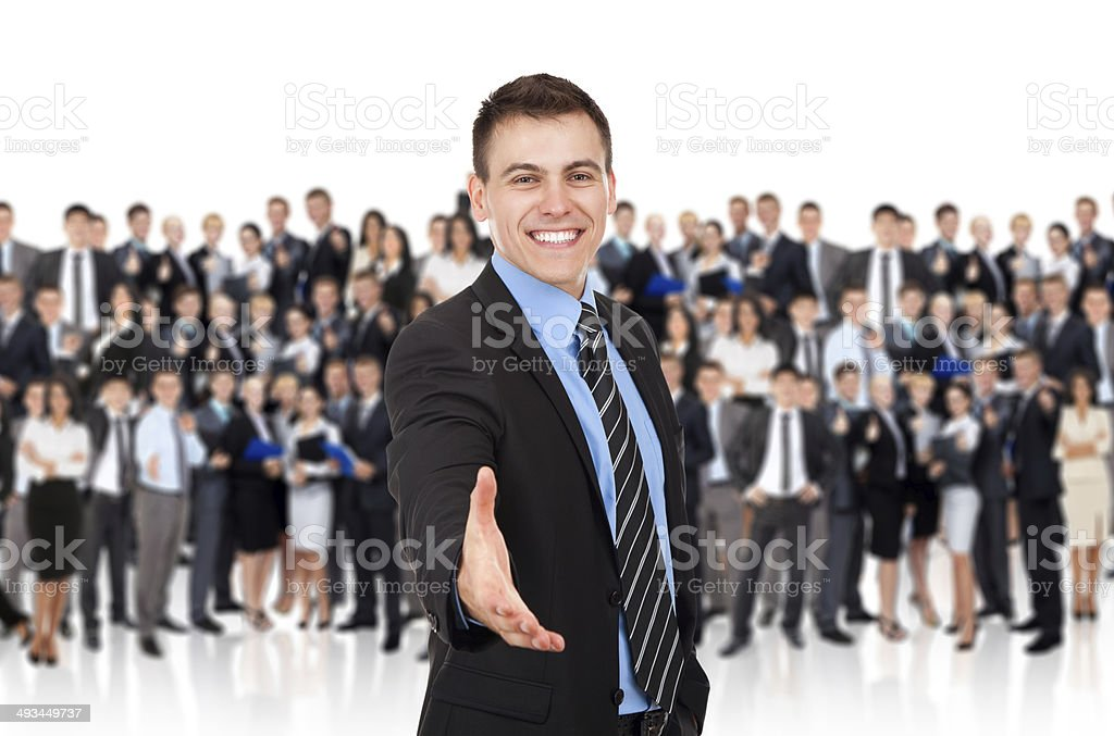 businessman handshake, group of people stock photo