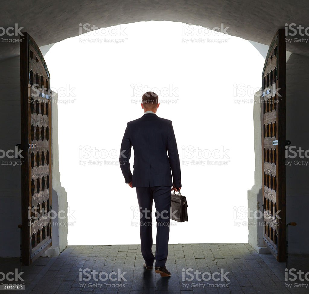 Businessman has found exit, concept stock photo