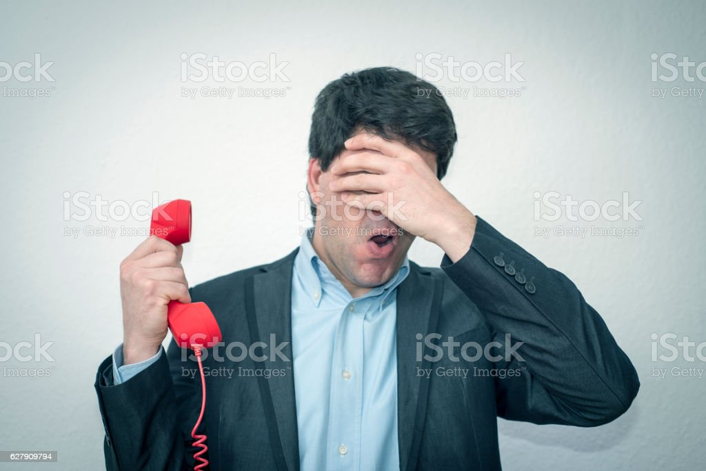 Businessman has screwed up! stock photo