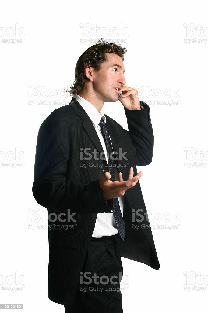 Businessman having a phone conversation stock photo
