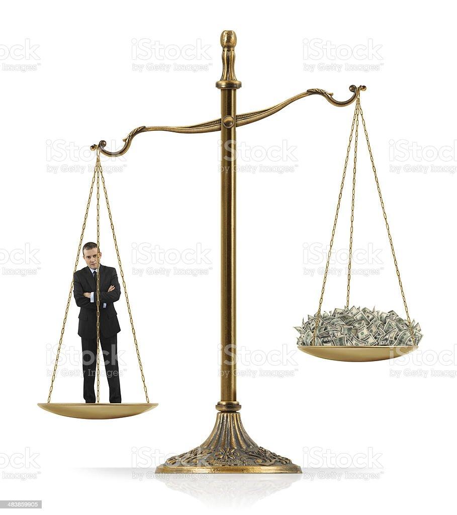 Businessman Heavier Than Money royalty-free stock photo