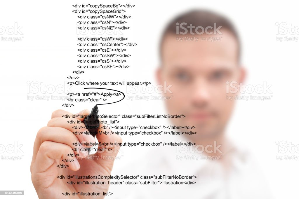 Businessman Highlighting Script royalty-free stock photo