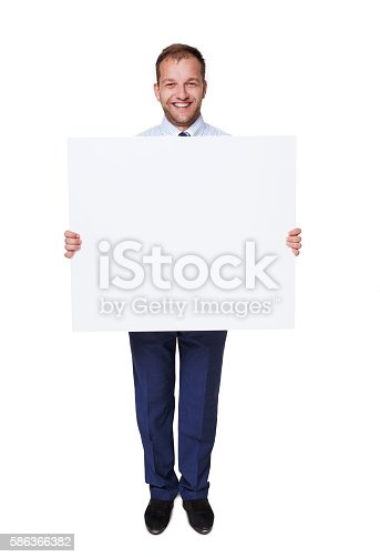 istock Businessman hold and show blank advertising board, isolated on white 586366382
