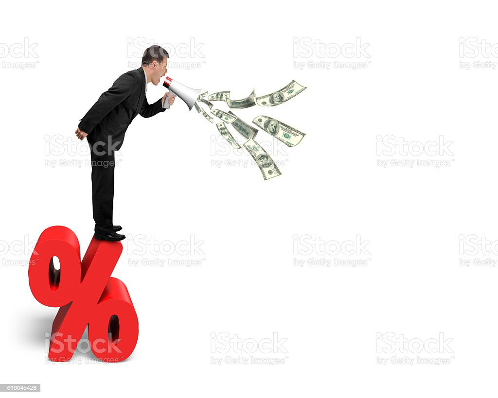 Businessman hold megaphone spraying out dollar bills on percenta stock photo