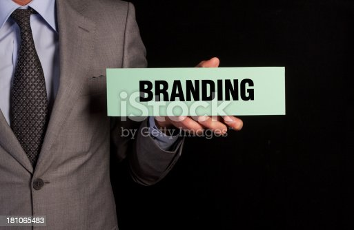 Businessman Hold Placard with Branding Message