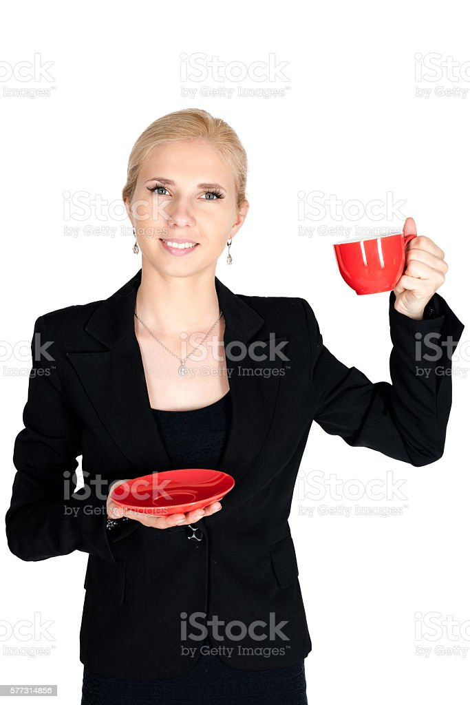 Businessman hold up red teacup smile stock photo