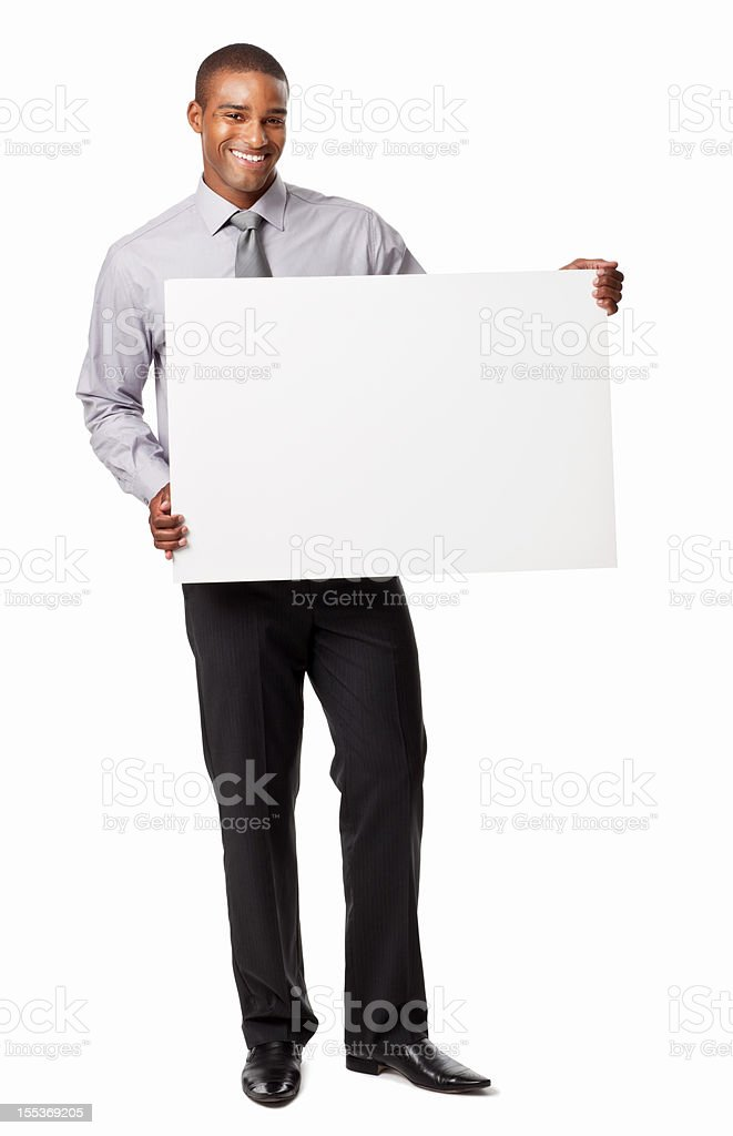 Businessman Holding a Blank Sign - Isolated stock photo
