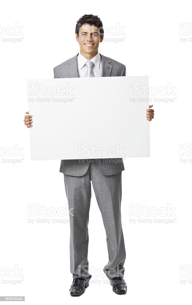 Businessman Holding a Blank Sign royalty-free stock photo