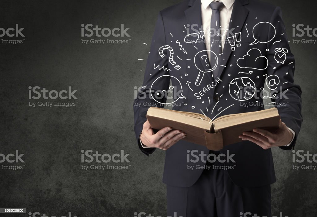 Businessman holding a book. - foto stock
