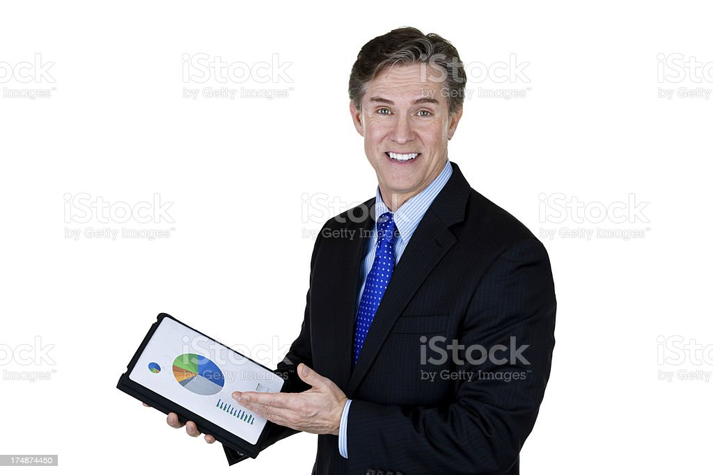Businessman holding a chart royalty-free stock photo