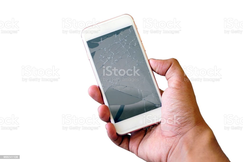 Geschäftsmann hält eine Riss Smartphone isoliert auf weißem Hintergrund. – Foto