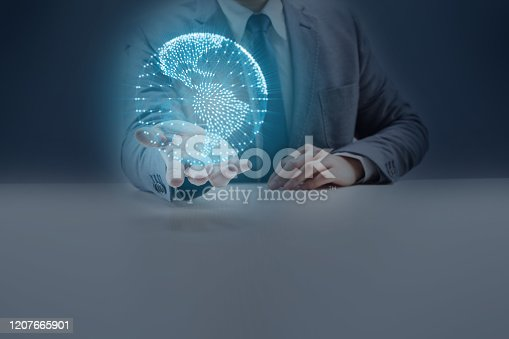 Businessman Holding a Geometric Network Polygon Globe Hologram on His Palm of Hand.