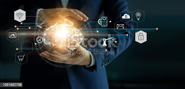 istock Businessman holding abstract brain and icon tools, device, customer network connection communication on virtual interface background, innovative development future technology, science, innovation and business idea concept. 1051632706