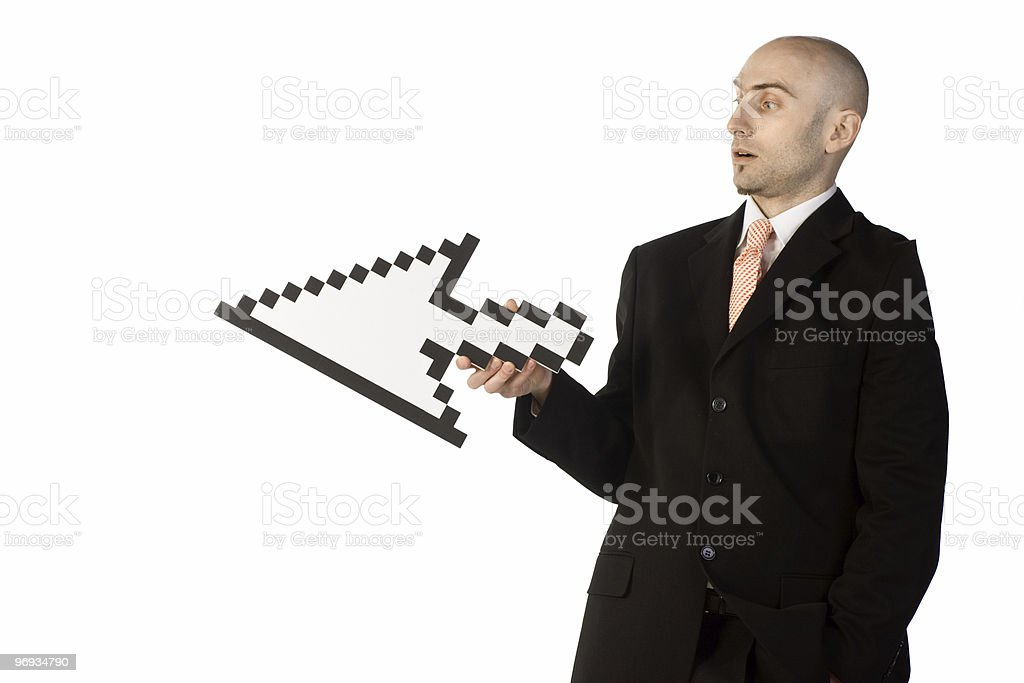 Businessman Holding an Arrow royalty-free stock photo